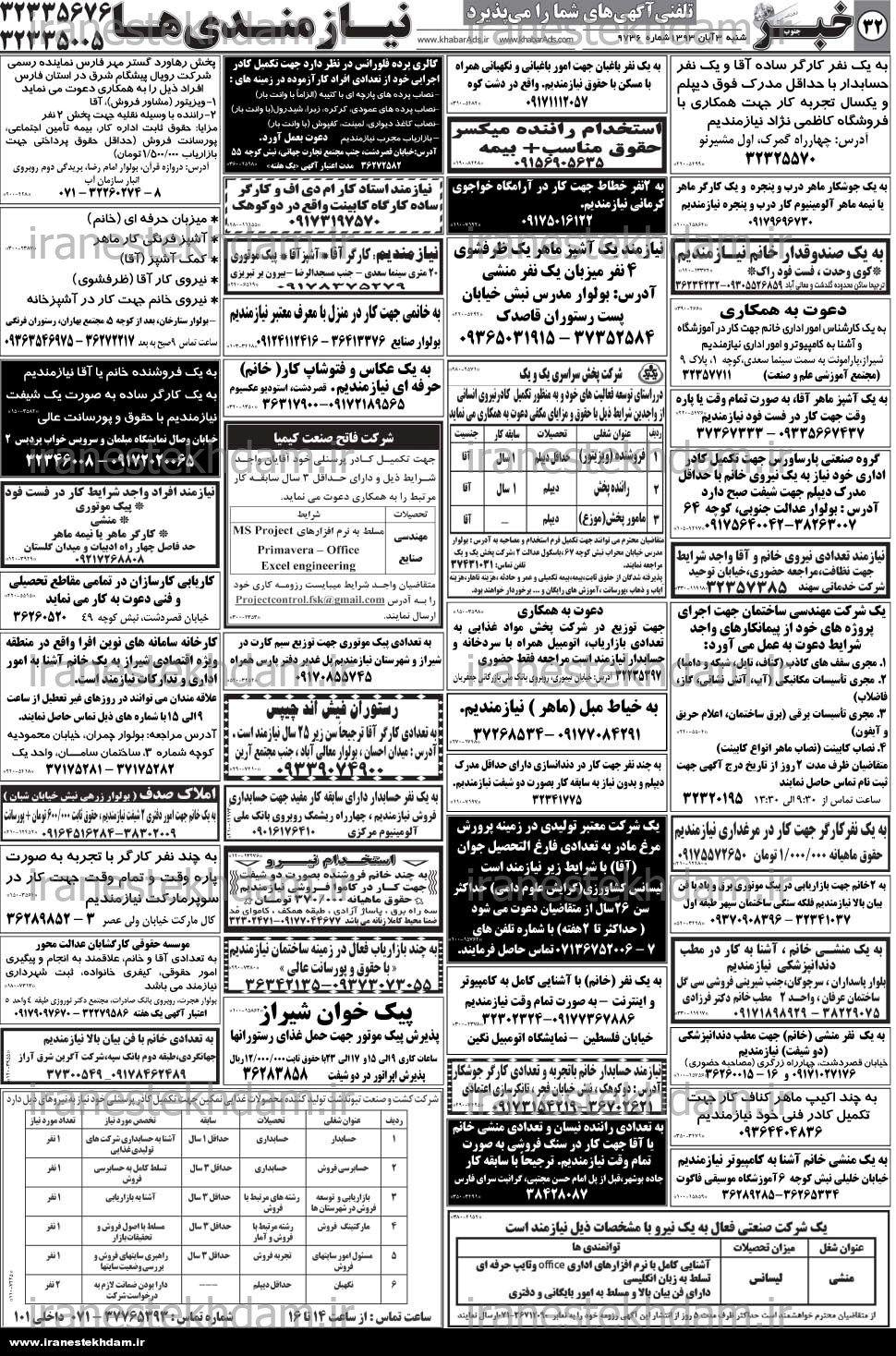 استخدام بازاریاب جهت کار در شهر شیراز استخدام استان فارس و شهر شیراز |۳ آبان ۹۳ | ایران استخدام