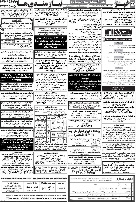 استخدام بازاریاب جهت کار در شهر شیراز روزنامه استخدامی فارس و شهر شیراز | دوشنبه 24 آذر 93 ...