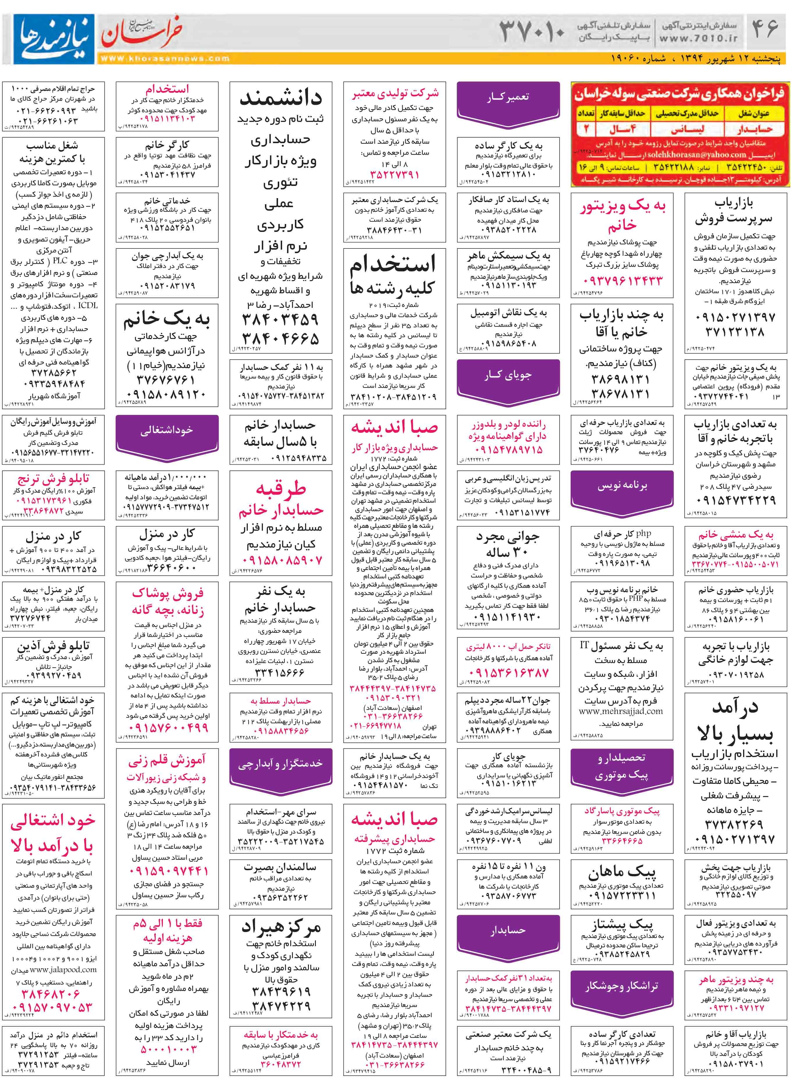 دانلود روزنامه نیازمندی های مشهد